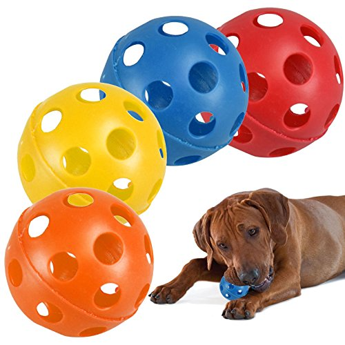 Lot de 4Grande creux Plastique coloré Air Flow pour animal domestique Balles à jouer pour chien chat chiot jouet Rouge/jaune/bleu/orange Lot de