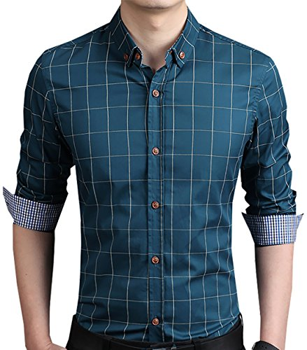 LOCALMODE Men's 100% Cotton Long Sleeve Plaid Slim Fit Button Down Dress Shirt,Acid - Water Shirts Acid