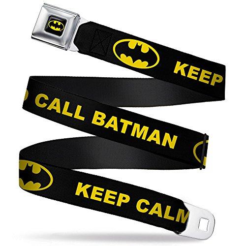 Buckle-Down Seatbelt Belt - KEEP CALM AND CALL BATMAN w/Logo Black/Yellow - 1.0