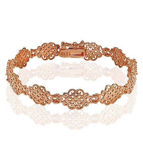 Sterling Gold Vintage Bracelets - Rose Gold Flashed Sterling Silver Polished Vintage Filigree Swirl Bracelet