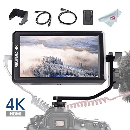 FEELWORLD F6 5.7 inch Full HD On-Camera Monitor with 4K HDMI Input/DC Output for Camera Charging, Field Monitor for Zhiyun Crane 2 DJI Ronin Gimbal Shooting, with Histogram Zebra False Colors