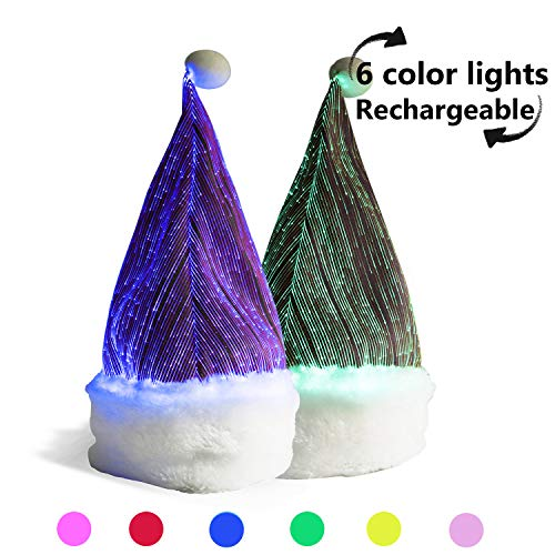 Colorful Santa Hats (Teczero 7 Colorful Lights LED Light up Santa Hat for Kids USB Rechargeable Wireless Children Glowing Beanies Flashing Hat for Christmas Festival Party Dancing and)