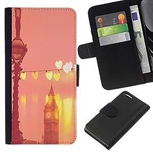 KLONGSHOP // Tirón de la caja Cartera de cuero con ranuras para tarjetas - Big Ben corazones de melocotón rosado de Londres Inglaterra - Apple Iphone 5C //