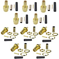Lsgoodcare 10PCS RP SMA Male Plug Femal Jack SMA Jack 50-1.5 RF Coaxial Connector Straight Goldplated SMA Connector Crimp for RG316 RG174 Cable