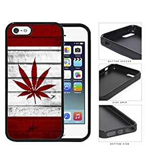 Canada Weed Flag Grunge Wood Rubber Silicone TPU Cell Phone Case Apple iPhone 5 5s wangjiang maoyi