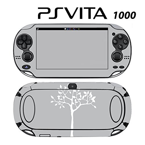 Skin Decal Cover Sticker for Sony PlayStation PS Vita (PCH-1000) - White Tree in Grey Backgound