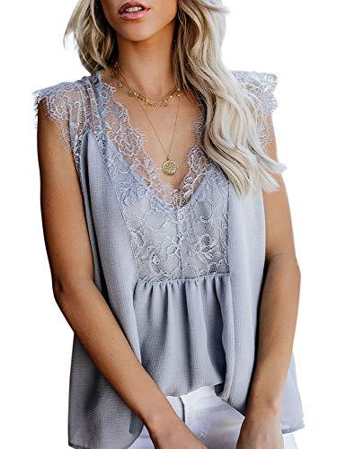 LEANI Women's Lace Cami Tank Top Sexy Sleeveless V Neck Semi Sheer Mesh Blouse Tunic (Light Grey, X-Large)