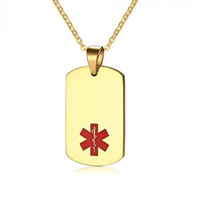 Amazon com: Flongo Medical Alert Necklace, Womens Mens