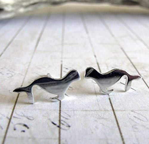 Sea Lion stud earrings seal polished sterling silver jewelry. Handmade in the USA. ()
