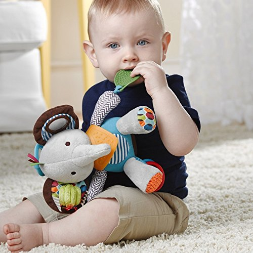 51pixr1cTKL - Skip Hop Bandana Buddies Baby Activity and Teething Toy with Multi-Sensory Rattle and Textures, Elephant