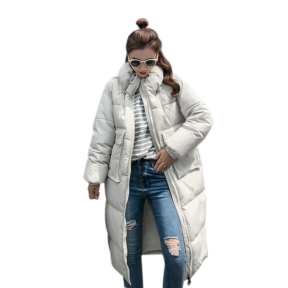 Realdo Womens Coat Clearance Sale Winter Warm Stand Neck Thick Slim Long Jacket Overcoat