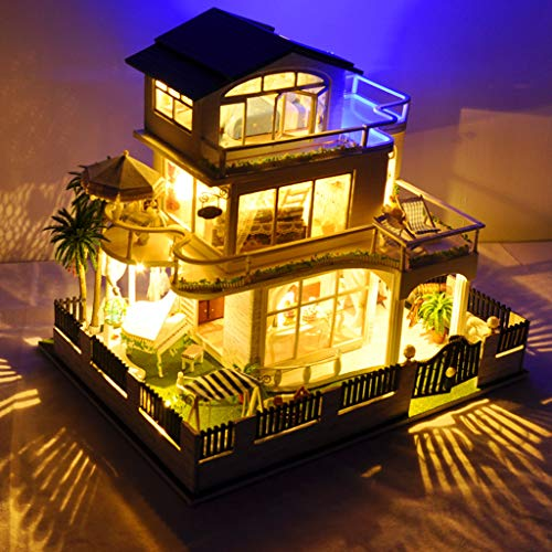LtrottedJ 3D Wooden DIY Miniature House Furniture LED House Puzzle Decorate Creative Gifts (B) -