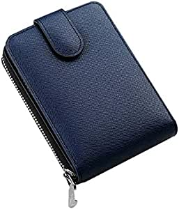 WILLIAMPOLO Genuine Leather Wallets Mens Small Driving Licence Zipper Credit Card Holder (Blue-Cross)