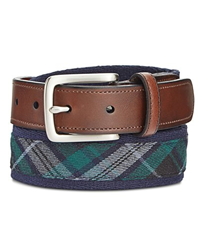 Cotton Plaid Belt - Club Room Men's Reversible Plaid Belt (38, Navy)