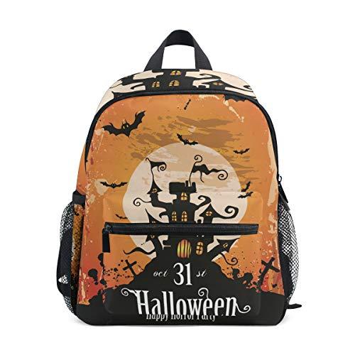 MUOOUM Castle Bat Halloween Moon Kids Backpack Pre-School Toddler Bag Travel Daypack