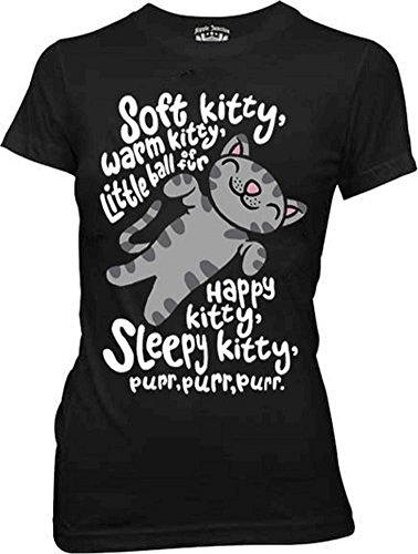 The Big Bang Theory Soft Kitty Warm Kitty BLACK Juniors T-Shirt (Juniors Medium) (Soft Kitty Warm Kitty Big Bang Theory)