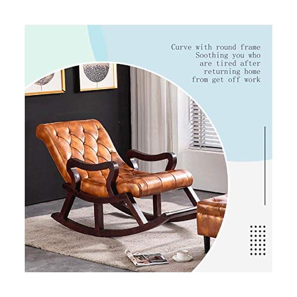 JYD Balcon Chaise berçante inclinable en Cuir Maison Chaise Longue en Bois Massif Adulte Adulte Paresseux Vieux Tumblr Chaise à Bascule