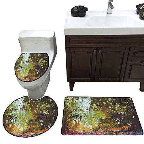 3 Piece Extended Bath mat Set Fantasy Art House Decor Natural Beauty at Park in Spring with Shadow Falling Leaves Flower Paint 3D Digital Printing Rug Set Multi