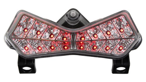 2003-2006 Kawasaki Z1000 / 03-04 ZX-6R ZX-6RR Integrated Sequential LED Tail Lights Clear (Zx6r Tail)