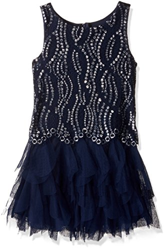 Price comparison product image Biscotti Little Girls' Shooting Stars Drop Waist Dress, Navy, 4