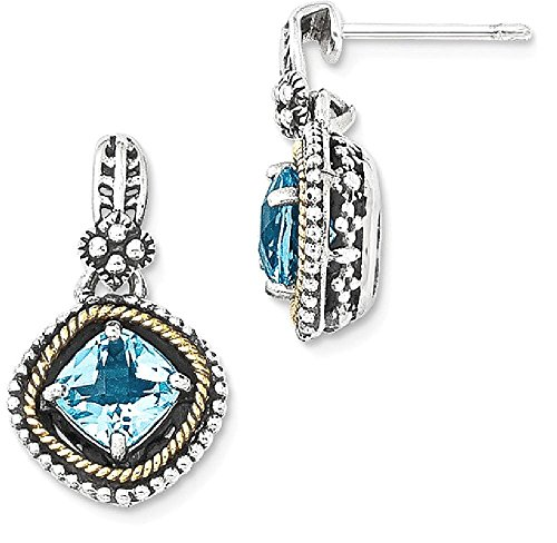 ICE CARATS 925 Sterling Silver 14k Swiss Blue Topaz Post Stud Earrings Drop Dangle Fine Jewelry Gift Set For Women Heart by ICE CARATS