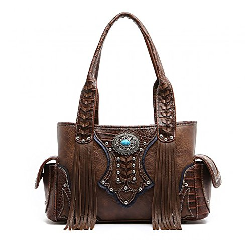 Western Handbag - Classic Concho Embossed Concealed Carry Shoulder Bag with (Classic Concealed Wall)