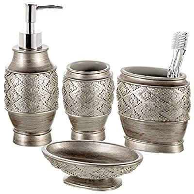 Dublin 4-Piece Bathroom Accessories Set - Includes Decorative Countertop Soap Dispenser, Dish, Tumbler, Toothbrush Holder, Resin Vanity Ensemble Set, Gift Boxed (Brushed Silver) - COMPLETE BATH SET: Comes with a Hand Soap Dispenser, Toothbrush Holder, Soap Dish and Tumbler. NO MORE RUST: The Bathroom Decorative Accessories Are Made Using Heavy Resin That Never Corrodes. SUITS ANY DECOR: The Rich Hue & Striking Detailing of The Bath Ensemble Set Blends into Any Space. - bathroom-accessory-sets, bathroom-accessories, bathroom - 51piz16l%2BoL. SS400  -