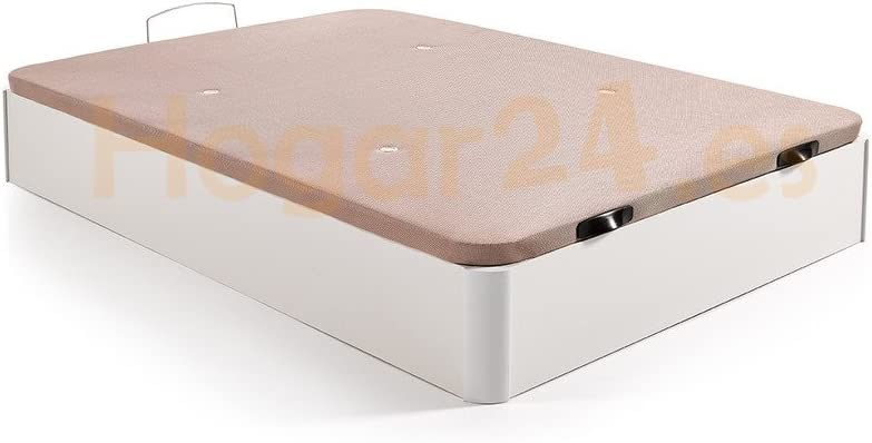 Hogar 24 Canapé Abatible Madera Gran Capacidad con Tapa 3D y Válvulas de Transpiración, con Esquineras en Madera Maciza, Color Blanco, 150X190cm