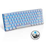 LexonElec® Wired Gaming Keyboard Ajazz AK33 Blue LED Backlit 82 Keys Usb Mechanical Pro Gamer Keypad for Office Typists Playing Games (Blue Switch, White) Review