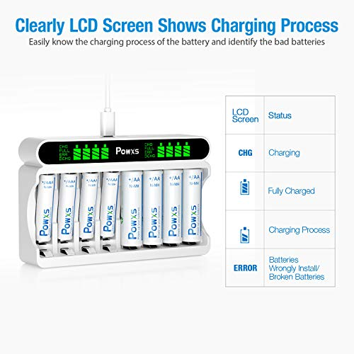 POWXS LCD AA AAA Battery Charger Independent 8 Bay Battery Charger, Including 4 Count AA and 4 Count AAA Rechargeable Batteries