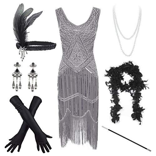 Women's Vintage 1920s Sequin Beaded Tassels Hem Flapper Dress w/Accessories Set (Large, Grey) -