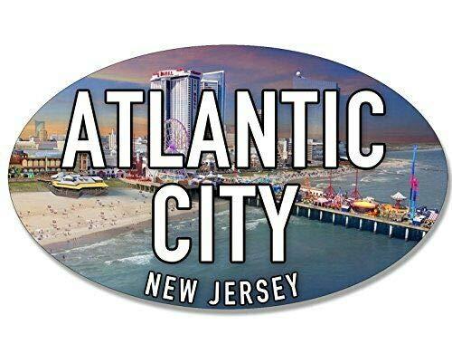 MAGNET 3x5 inch Oval Atlantic City Sticker (New Jersey nj Beach sea Coast Coastal Logo) Magnetic vinyl bumper sticker sticks to any metal fridge, car, signs ()