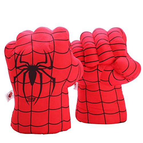 (Fairzoo Spider-Man Gloves Smash Soft Plush Fists Pairs Costume Red and Black)