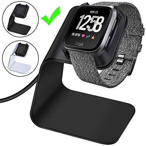 CAVN Fitbit Versa Charger Charging Stand Dock Accessories Premium Aluminum Charging Dock Stand Cable Cord Station Cradle with 4.2ft Charging Base Charger Cable Dock for Fitbit Versa Smartwatch, Black by CAVN