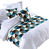 Y-Step Grid Bed Runner Single Double King Bedding Tail Pad Flag Home Hotel Decoration Blue