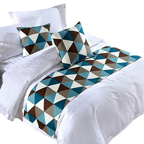 Y-Step Grid Bed Runner Single Double King Bedding Tail Pad Flag Home Hotel Decoration Blue by Y-Step