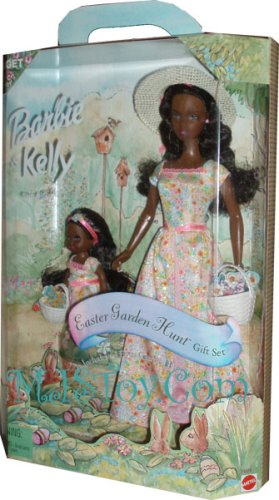 Barbie and Kelly sister of Barbie : African American AA Target Special Edition Easter Garden Hunt Gift set (Year 2000 (Barbie Garden)