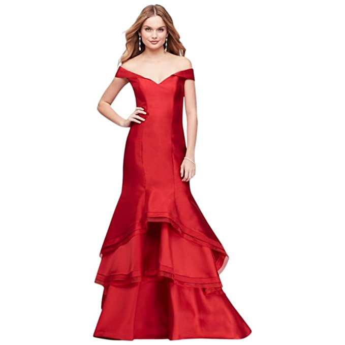 af6367f4a0415 Off-The-Shoulder Tiered Satin Mermaid Prom Dress Style XS9211, Red, 10
