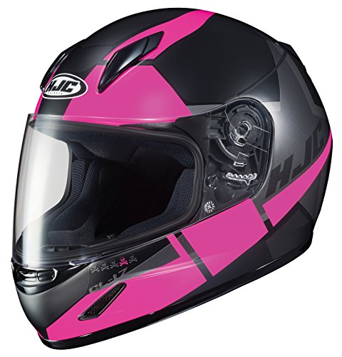 HJC Helmets MC-8SF Unisex-Child Full-Face CL-Y Youth Boost Helmet (Black/Pink, Small)