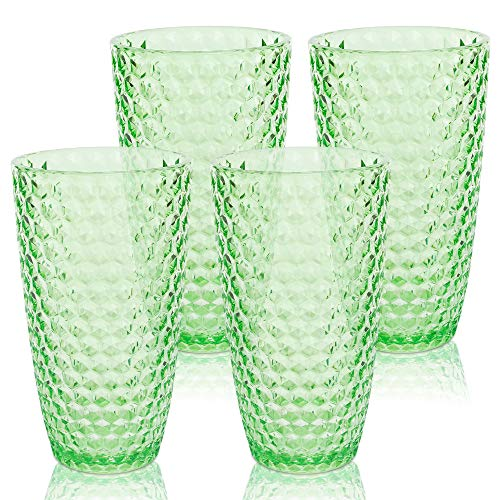 BELLAFORTE – Shatterproof Tritan Plastic Tall Tumbler Green – 19oz, Set of 4, Laguna Beach Drinking Glasses, Dishwasher…