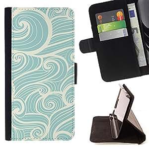 BullDog Case - FOR/Samsung Galaxy S4 IV I9500 / - / wind waves surf blue white vintage /- Monedero de cuero de la PU Llevar cubierta de la caja con el ID Credit Card Slots Flip funda de cuer