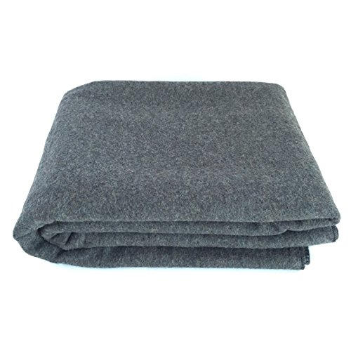 "EKTOS 90% Wool Blanket, Grey, Warm & Heavy 4.4 lbs, Large Washable 66""x90"" Size, Perfect for Outdoor Camping, Survival & Emergency Preparedness Use"