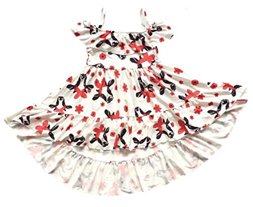 Unique Baby Girls Cow Summer Outfit Milk Farm Dress (2t/XS) Cream -