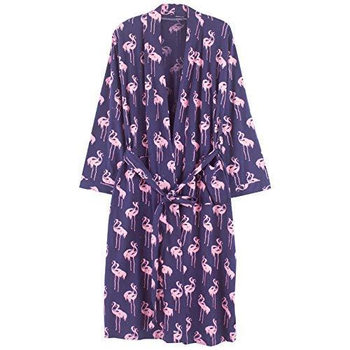 FERFERFERWON Nachthemd Frühlings- und Herbstfrauen langärmelige Robe Baumwollpyjamas gekämmte Baumwollbademantel Bademantel Damenhausdienst (Farbe  Lila, Größe  XL)