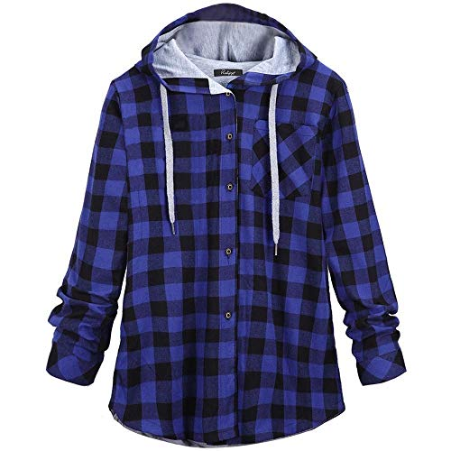 GOVOW Plaid Hooded Shirt Jacket Women's Long Sleeve