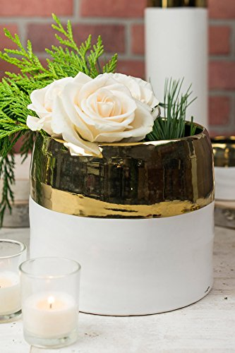 """Way Home Fair White and Gold Ceramic Claire Vase & Pot 7.5"""" x 6.25"""""""