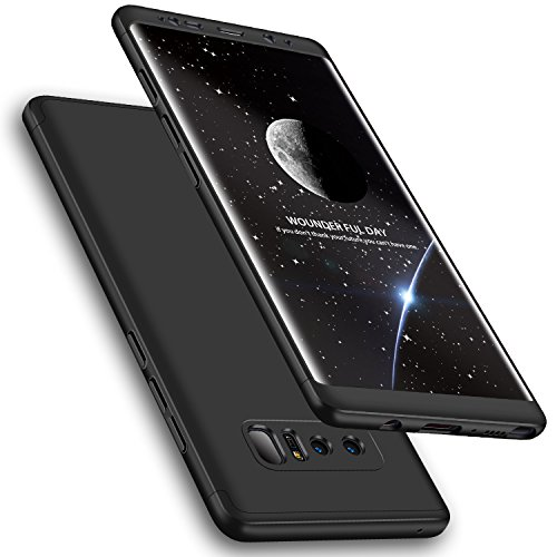 Galaxy Note 8 Case, Wellerly 3 in 1 Ultra Slim Hard PC Premium Case Hybrid Anti Fingerprint Scratches Soft Grip 360 Degree Full Body Protection Cover for Samsung Galaxy Note 8 (Black)