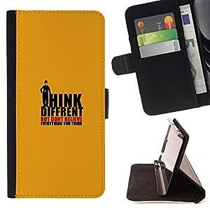 Momo Phone Case / Flip Funda de Cuero Case Cover - Think Different creas Pensamientos Cita - Samsung Galaxy S6 EDGE