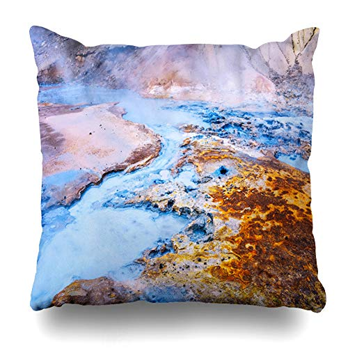 Ahawoso Throw Pillow Cover Extreme Blue Fumarole Field Namafjall Iceland Geothermal Boil Nature Parks Namaskard Area Lake Zippered Pillowcase Square Size 20x20 Inches Home Decor Pillow Case