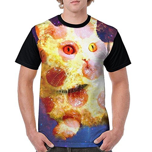Male Costumes From Descendants (T-shirt Galaxy Funny Pizza Cat Front Sheet Printing Comfortable Style Mens T-shirt)